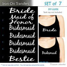 Bridesmaid Iron On Transfer Heat For By Krissiestudio Wedding Party Gifts Pinterest And Diy Craft Projects