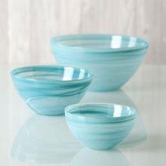 Serving bowls- polished alabaster round bowl - turquiose