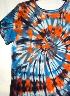 Tie Dye Spiral Blue and Orange with Black by TieDyeRedeemedByRed,
