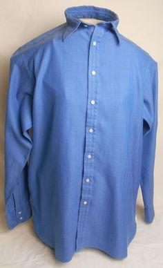 "THOMAS PINK Mens Shirt Size 16 1/2""/36 Solid Blue 100% Cotton Dress #ThomasPink"