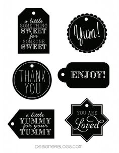 Black & White Tags Printable   DesignerBlogs.com