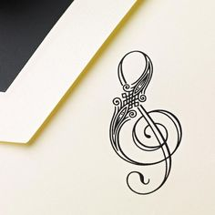 Musical Tattoo Hand Engraved Treble Clef Note: The creak of an opening mailbox? Music to our ears. Especially if this lovely note, with a delightfully illustrated black treble clef symbol on thick cream paper, is tucked inside. Et Tattoo, Tattoo Motive, Piercing Tattoo, Tattoo Neck, Treble Clef Tattoo, Tattoo Heaven, Tattoo Musik, Tattoo Dentelle, Tattoo Feminina