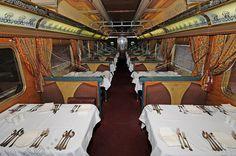 The 1st class restaurant car on The Ghan train
