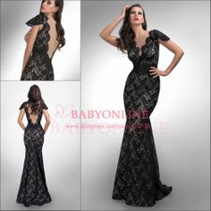 $159.2--New Arrivals Tank Straps Deep V Neck Mermaid Sexy Lace Prom Dress Long With Nude Lining Special Occasion Dresses