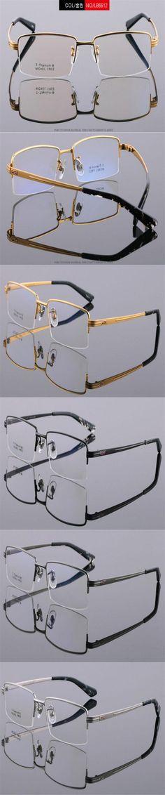 DOWER ME 100% Pure Titanium Business Design Half Rim Gold Black Prescription Lens Reading Eyeglasses Presbyopia Frame LB6612