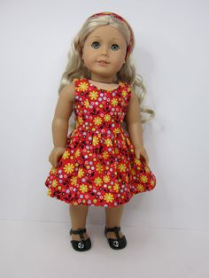 American Girl doll clothes -  Pretty red print versatility dress by JazzyDollDuds.