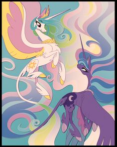 Okay my new print is something I know so many people we're waiting for, Princess Celestia and Princess Luna from My Little Pony! My Little Pony Drawing, My Little Pony Comic, My Little Pony Pictures, Mlp My Little Pony, My Little Pony Friendship, Princesa Celestia, Celestia And Luna, Rainbow Dash, Fluttershy
