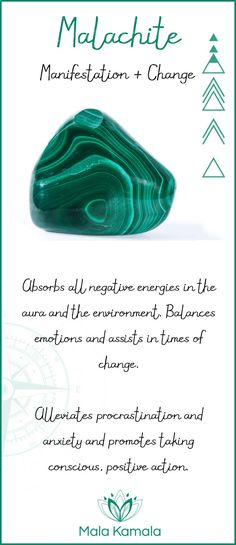 Pin To Save, Tap To Shop The Gem. What is the meaning and crystal and chakra healing properties of malachite? A stone for manifestation and change. Mala Kamala Mala Beads - Malas, Mala Beads, Mala Bracelets, Tiny Intentions, Baby Necklaces, Yoga Jewelry,