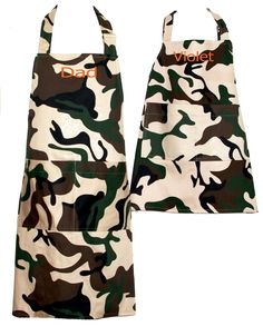 Matching Camo Apron, Camouflage Dad, Daddy, Boy, Mommy, Daughter, Youth, Custom Birthday Gift, Personalize With Name, Ships Today, AGFT 1153