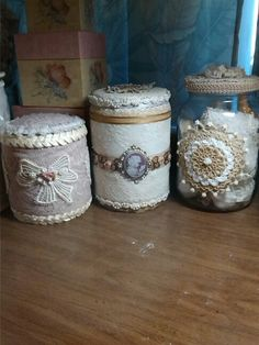 Cans and jar I've altered for craft storage