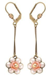 Michal Negrin Dangle Earrings with Vintage Flower Charm Rose, Faux Pearl and Gold Swarovski Crystals