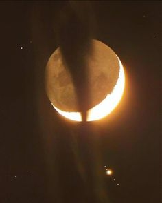 Occultation -- the waning Moon Jupiter and the four Galilean moons: Callisto Ganymede Io and Europa. Eros And Psyche, Space Images, Lost In Space, Space And Astronomy, The Four, Moon Child, Artemis, Beautiful Space, Planet Earth