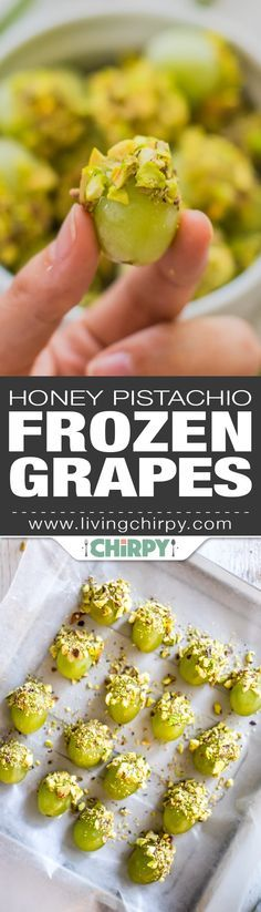Honey Pistachio Frozen Grapes - a healthy low-carb dessert / sweet treat that's quick and easy to make. Perfect for warm summer days.