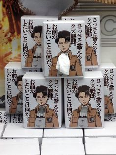 Attack on Titan ~~ Little boxes of tissues featuring Levi Heichou :: Hey, Japan! Shut up and take my money!