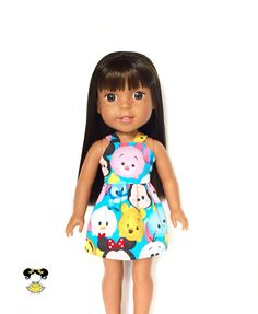 Dress, Spaghetti Strap, Disney, Tsum Tum, Turquoise Blue, Pink, Yellow, 14.5, 14 inch Doll Clothes, Wellie Wishers, Summer by JoDeePetites on Etsy https://www.etsy.com/listing/531484562/dress-spaghetti-strap-disney-tsum-tum