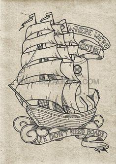 16 super ideas design tattoo old school behance Sketch Tattoo Design, Skull Tattoo Design, Tattoo Sketches, Tattoo Drawings, Tattoo Designs, Tattoo Barco, Ship Sketch, Skull Rose Tattoos, Daddy Tattoos
