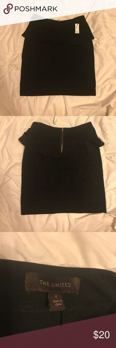 *NWT* Black peplum skirt Cute black pencil skirt with a peplum detail at the waist. It also has an exposed gold zipper on the back. This skirt is super cute but it ended up being too tight on me. Skirt has never been worn, it still has tags and it is in excellent condition. No trades please, thank you!! 😁 The Limited Skirts Pencil