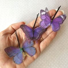 Soft - Handmade Cotton and Silk Organza Lilac Violet Purple Butterflies Hair Bobby Pins - 3 pieces by TheButterfliesShop on Etsy