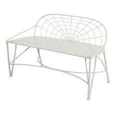 Inspired by French wire designs this elegant low backed bench works out of doors for casual seating or in a foyer. Available in White, Verbena Yellow and Dove Grey. Risk-taker par excellence, style ma