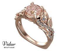 Flower Engagement Ring,Unique Engagement Ring,Rose Gold 1.5 Carat Ring By Vidar Botique,Morganite Engagement Ring,Leaves Ring,Vintage Ring