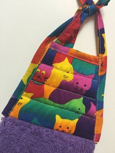 Colorful Cats Towel - Cats Hand Towel - Cats Kitchen Towel - Purple Tea Towel…