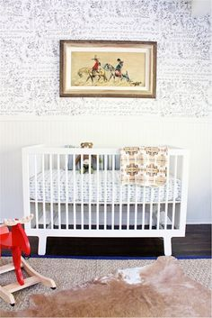Modern Vintage Baby Boy Nursery with antique Mexican print - great mix of patterns and textures in this baby room!