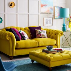 Pretty Yellow Sofa Design Ideas For Living Room Decor Living Room Decor Colors, Cozy Living Rooms, New Living Room, Living Room Sofa, Room Colors, Living Room Designs, Living Room Yellow, Yellow Sofa Design, Yellow Couch