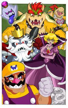 Shadow peach and other Mario bros villains