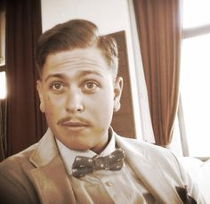 Old classic style . Gentlemen with bowtie.