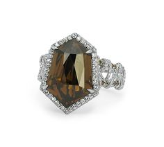 Martin Katz New York collection ring in white gold, set with a 10.97ct kite-shape cognac diamond and micro-set diamonds.