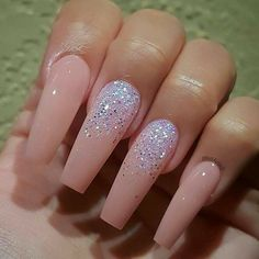 Corners-Jv pink manicure, baby pink nails acrylic, nude nails with glitter, Baby Pink Nails Acrylic, Best Acrylic Nails, Glitter Nails, Baby Pink Nails With Glitter, Pink Manicure, Pink Acrylics, Perfect Nails, Gorgeous Nails, Pretty Nails