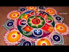 Easy Rangoli Designs Diwali, Indian Rangoli Designs, Rangoli Designs Latest, Simple Rangoli Designs Images, Rangoli Designs Flower, Free Hand Rangoli Design, Rangoli Border Designs, Rangoli Patterns, Colorful Rangoli Designs