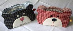 Japanese patchwork teddy bear quilt bag / zipper pouch sewing  purse. Kosmetik tasche für Mädchen Kinder mit Reißverschluss nähen