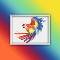 Ara Parrot Cross Stitch Pattern 2 Instant PDF Download - Parrot Watercolor Cross Stitch Pattern - Macaw Cross Stitch Pattern Cool Writing, Dmc Floss, Extra Fabric, Color Change, Parrot, Cross Stitch Patterns, Free Images, Custom Design, Pdf