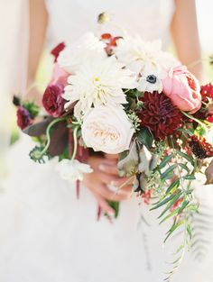 White, red, and pink bouquet