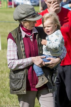 Doting: Princess Anne looked relaxed as she spent some quality time with 20-month-old Mia ...
