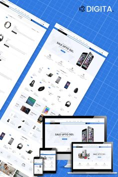 Digita - Electronics Store eCommerce Clear Shopify Theme #87342 First Website, Website Template, Ecommerce, Templates, Electronics, Store, Fashion Clothes, Purpose, Jewelry Accessories