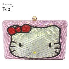 148.00$  Watch here - http://aliuqn.worldwells.pw/go.php?t=32725639897 - Pink Hello Kitty Crystal Diamond Women Evening Cocktail Party Handbags Clutch Bag Hard Case Metal Clutches Shoulder Chain Purses