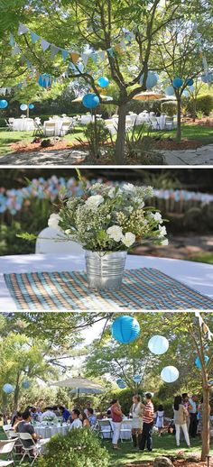An outdoor Sip and See is a great baby shower alternative where guests can mingle and meet the baby! Baby Shower Table, Baby Shower Themes, Shower Ideas, Shower Bebe, Baby Boy Shower, Backyard Baby Showers, Backyard Bbq, Wedding Backyard, Garden Wedding