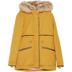 HOODED PARKA - TRENDING NOW-TRF | ZARA United States ❤ liked on Polyvore featuring outerwear, coats, hooded parka, yellow coat, hooded parka coat, parka coat and hooded coat
