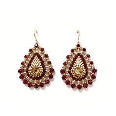 in Weinrot und Gold Crochet Earrings, Drop Earrings, Accessories, Jewelry, Fashion, Ear Piercings, Red, Moda, Jewlery