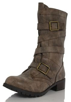 Amazon.com: Taupe Faux Leather Combat Military Strappy Double Buckle Mid Calf Boots Diona: Shoes