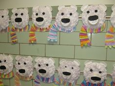 Tissue Paper Collage Polar Bears- pincher strength, gluing, cutting curved lines. write a saying about polar bears on the back Winter Art Projects, Winter Project, Projects For Kids, Kindergarten Art, Preschool Crafts, Bears Preschool, Preschool Winter, Classe D'art, Classroom Crafts