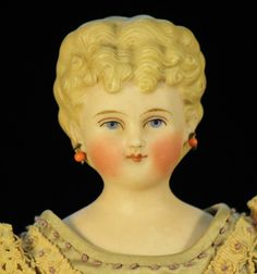 """10.5"""" Blond doll antique bisque lower arms&legs Germany Kling deep molded hair"""