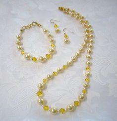 Jewelry Set Made with Swarovski Crystal Pearls -