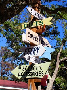 DIRECTIONAL SIGN for island amenities and attractions at Ocracoke. Ocracoke Island has something for everyone. From strolling around the quaint village to lolling on the beach, this island beckons as an old-style coastal destination.