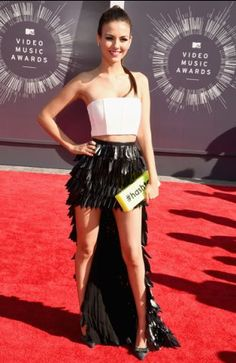 Victoria Justice photographed on the red carpet at the 2014 MTV Video Music Awards in Inglewood, California.   MTV Photo Gallery