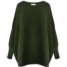 PAISIE - Oversized Ribbed Jumper in Green ($120) ❤ liked on Polyvore featuring tops, sweaters, green jumper, rib top, reversible top, jumpers sweaters and jumper tops