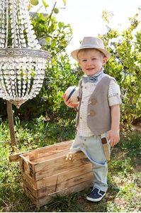 ρούχο για βάπτισης αγοριού σε γκρι και σιελ αποχρώσεις της εταιρίας bambolino