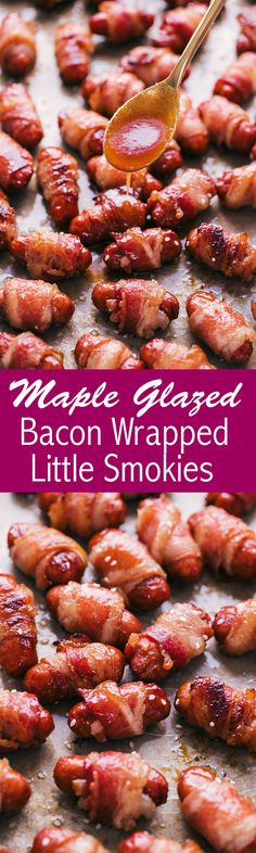 Maple Glazed Bacon Wrapped Little Smokies. Little smokies wrapped in strips of bacon and glazed with maple and brown sugar. Bacon Wrapped Little Smokies, Smokies Recipe, Vegan Recipes, Cooking Recipes, Fall Recipes, Bbq Bacon, Side Dishes For Bbq, Healthy Menu, Eating Healthy